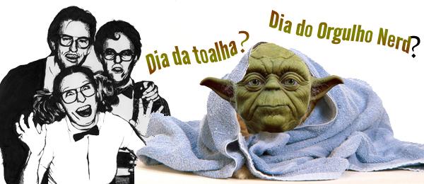 Nerds e o Mestre Yoda enrolado em uma toalha